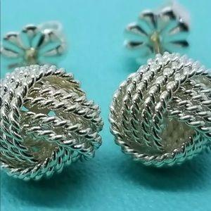 Tiffany&Co 925 Sterling Silver Knot Earrings